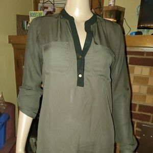 NY Collection, size Sm, green w/black trim blouse